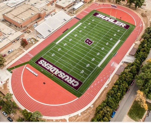 An Aerial Photo of  Sharp Athletic Turf Installed by Mid-America Sports Construction